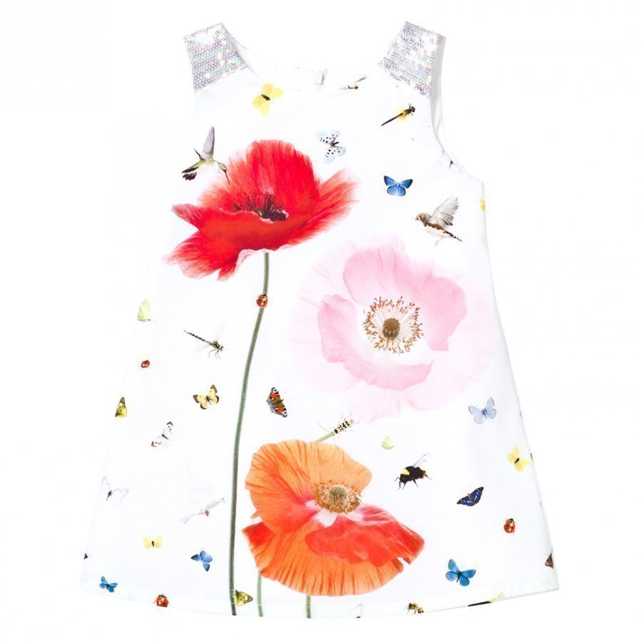Anne Kurris White Poppy And Bird Print Dress Juhlamekko