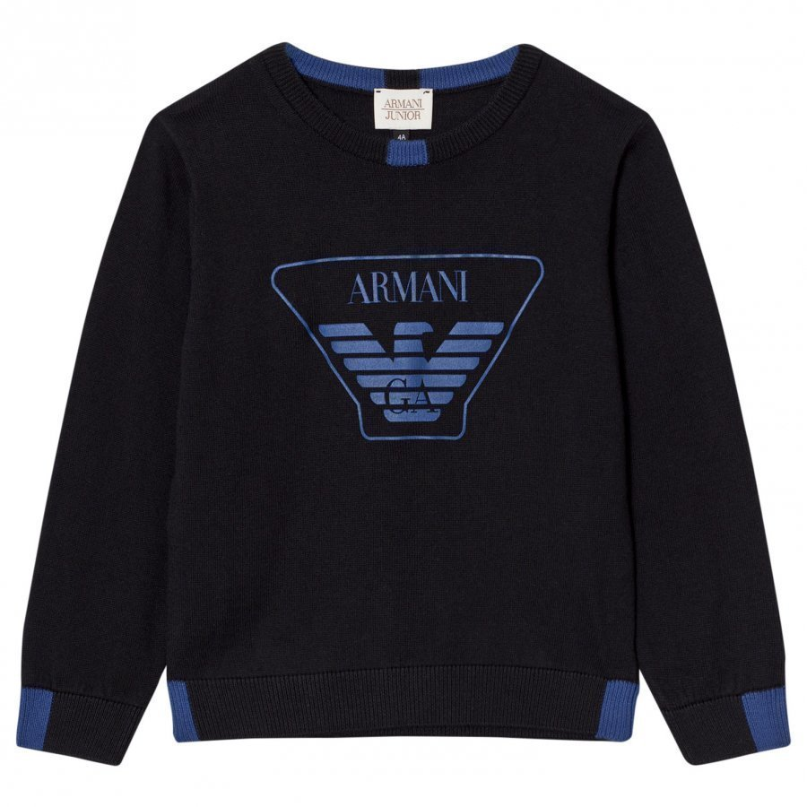 Armani Junior Black Blue Logo Knit Sweater Paita