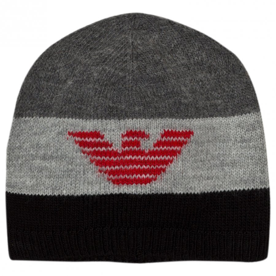 Armani Junior Black Grey Logo Beanie Pipo