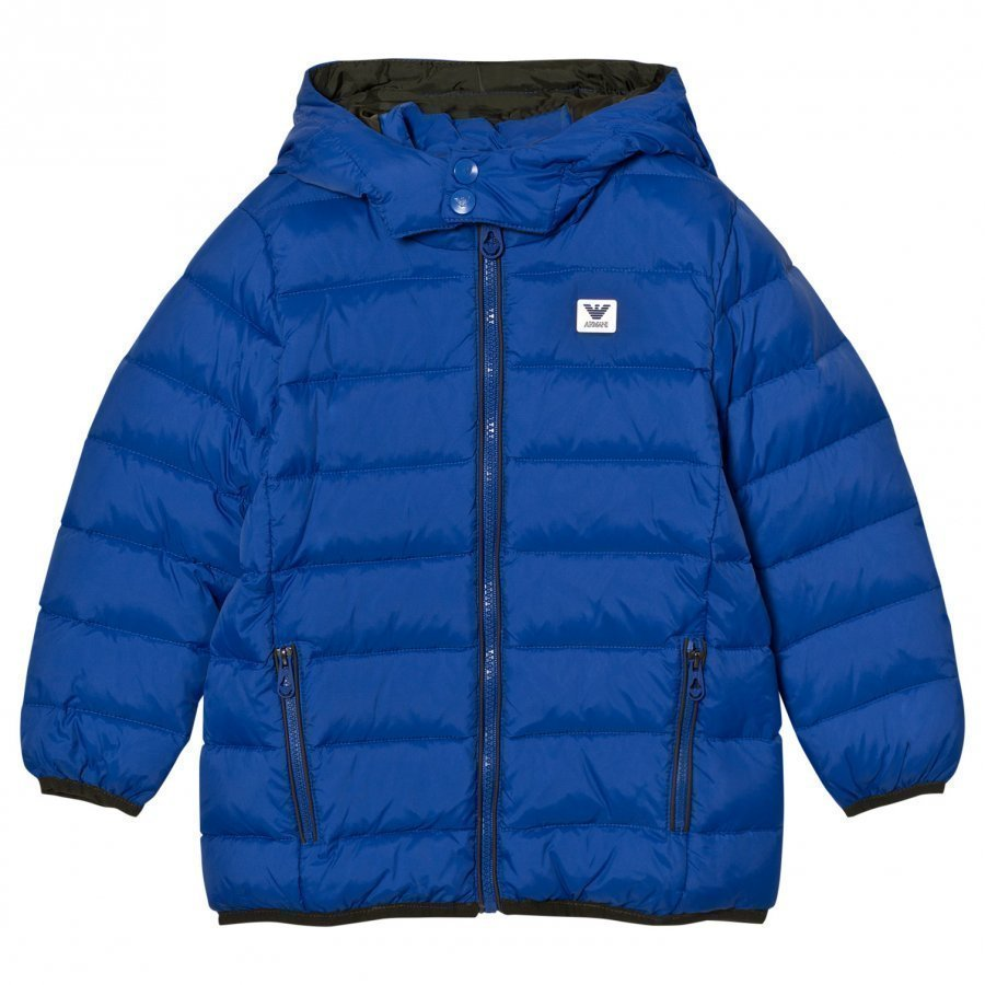 Armani Junior Blue Down Hooded Puffer Coat With Logo Toppatakki