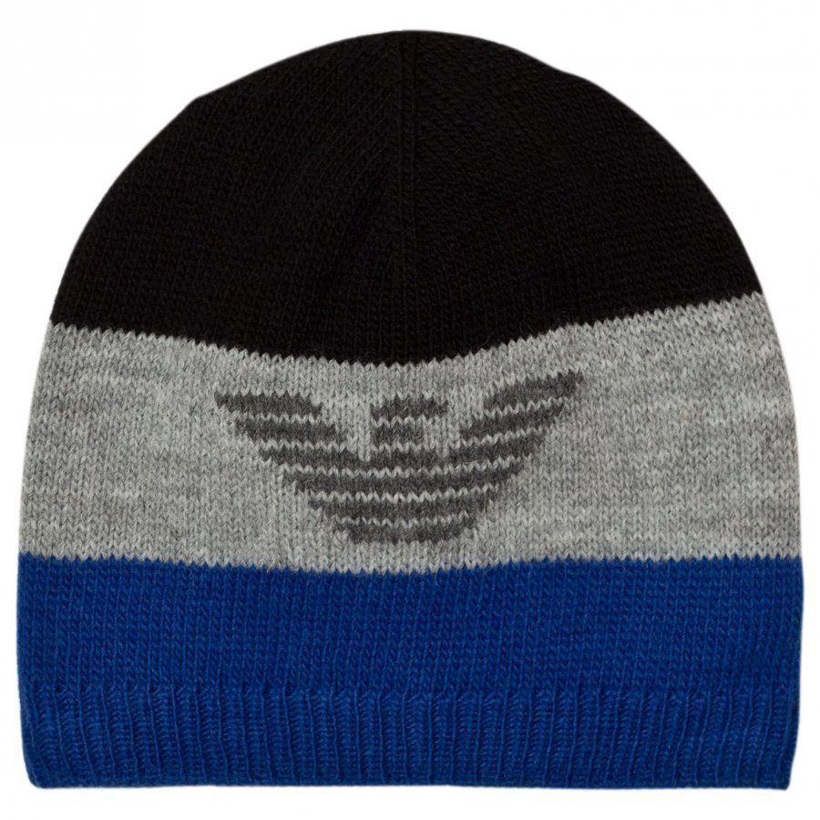Armani Junior Blue Grey Logo Beanie Pipo