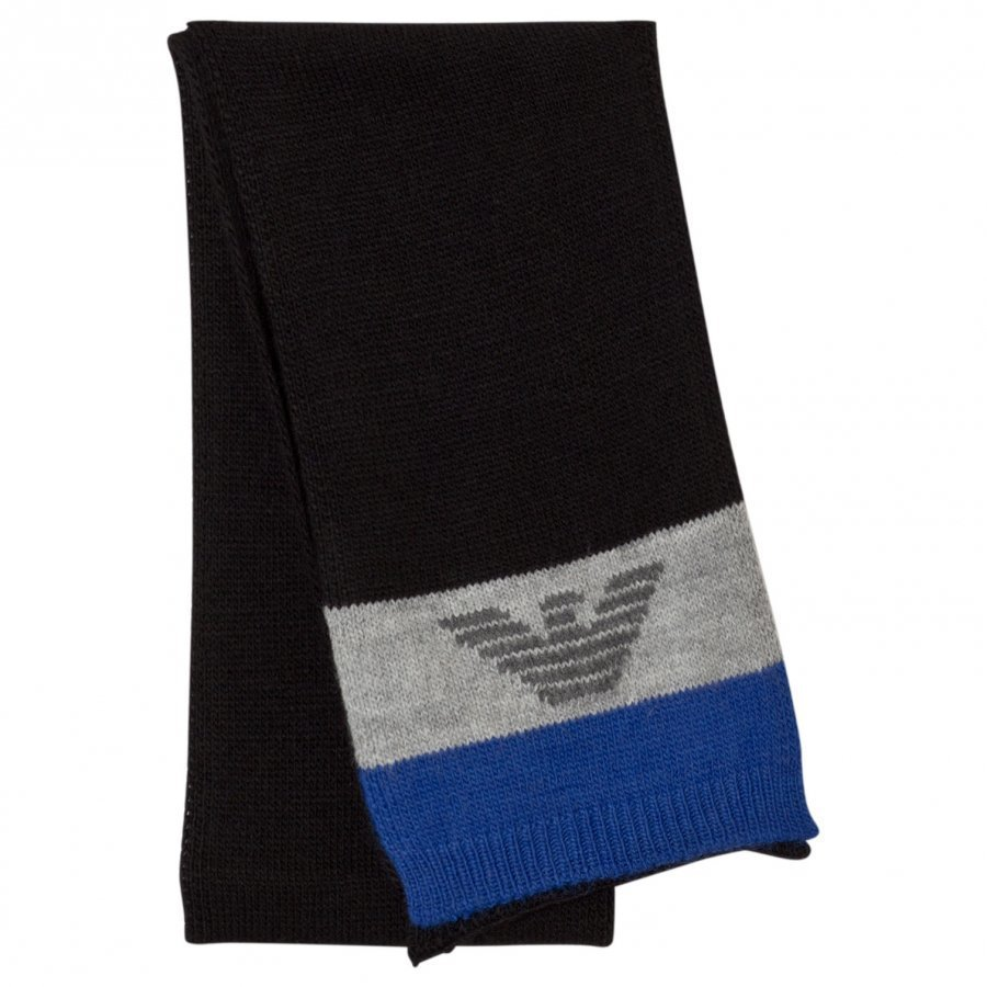Armani Junior Blue Grey Logo Scarf Villahuivi
