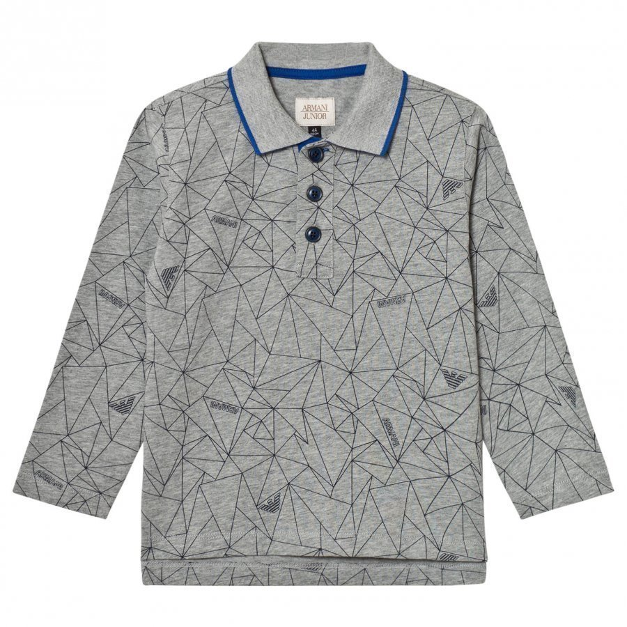 Armani Junior Grey Allover Geometric Logo Polo Pikeepaita