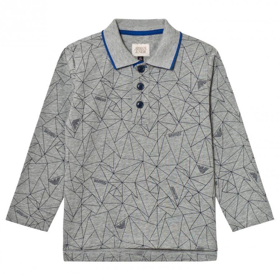 Armani Junior Grey Allover Geometric Logo Polo Pikeepaita