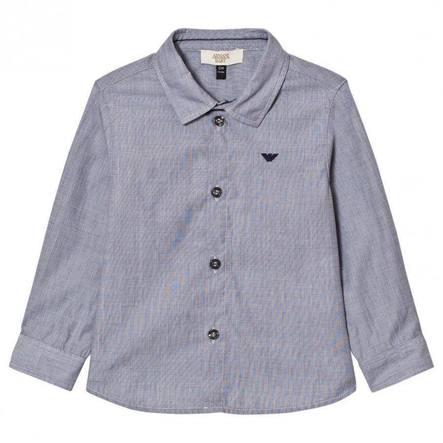Armani Junior Grey Blue Micro Check Shirt Logo Kauluspaita