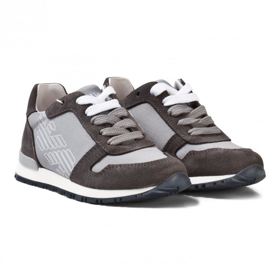 Armani Junior Grey Logo Suede Laced Sneakers Lenkkarit