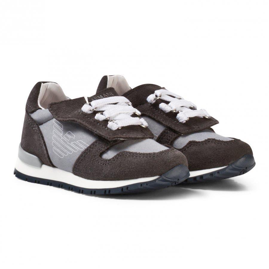 Armani Junior Grey Logo Suede Velcro Sneakers Lenkkarit