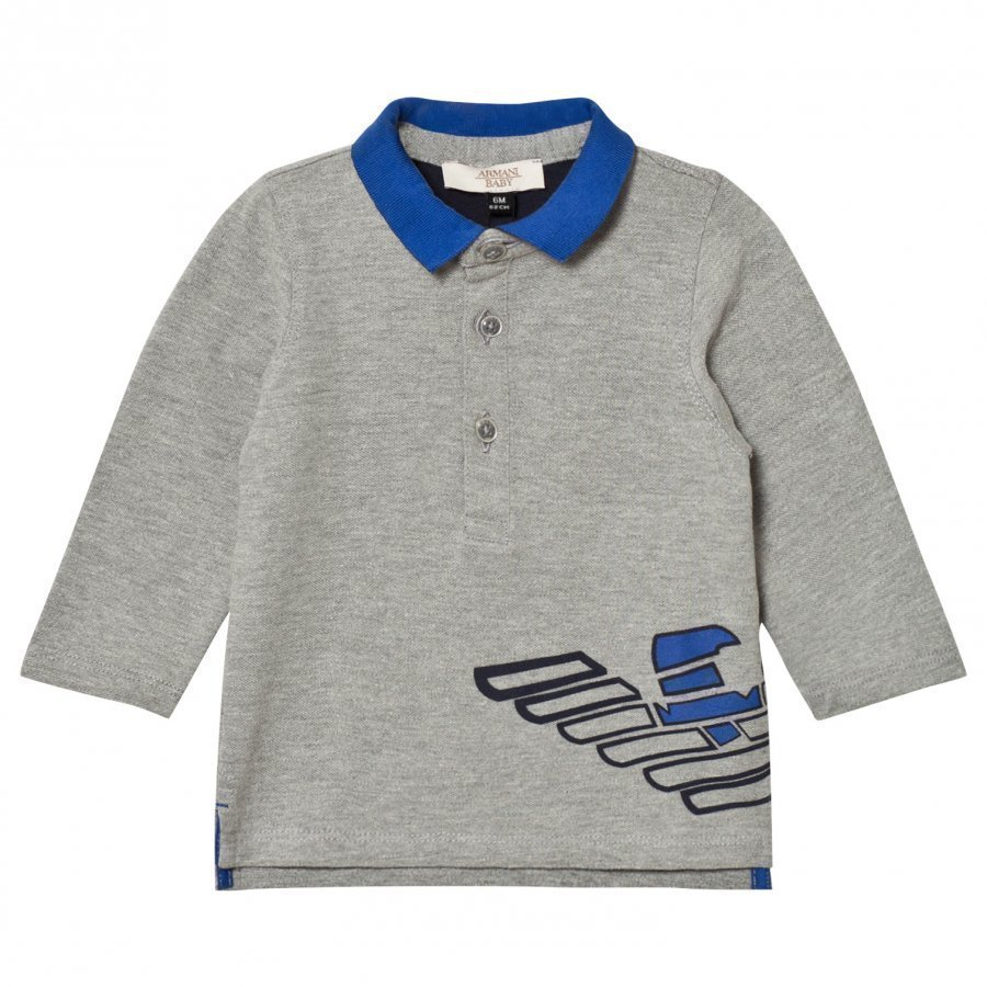 Armani Junior Grey Marl And Electric Blue Logo Polo Pikeepaita