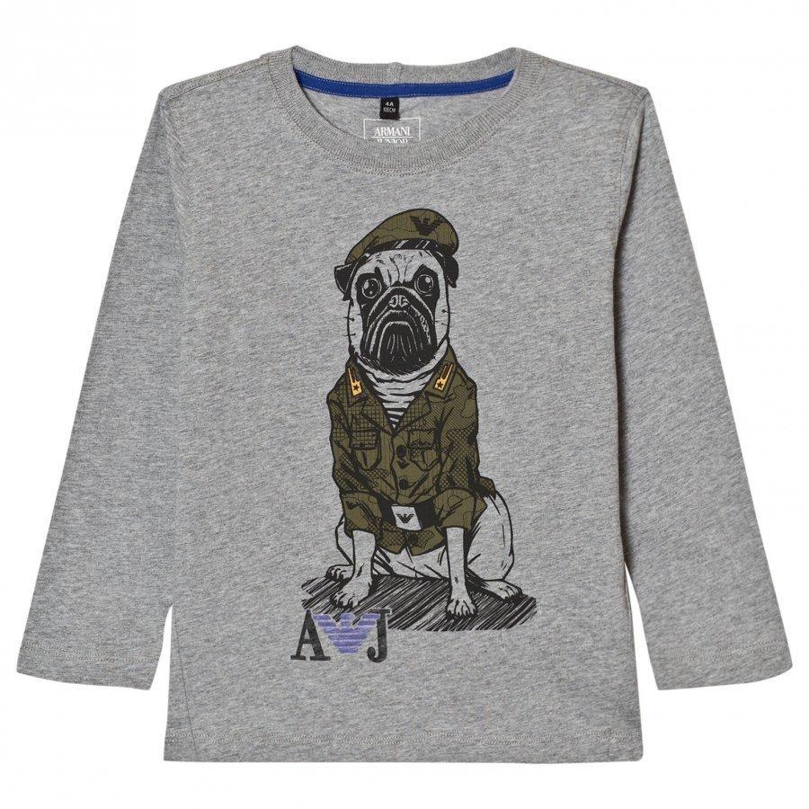 Armani Junior Grey Marl Army Pug Print Tee Pitkähihainen T-Paita