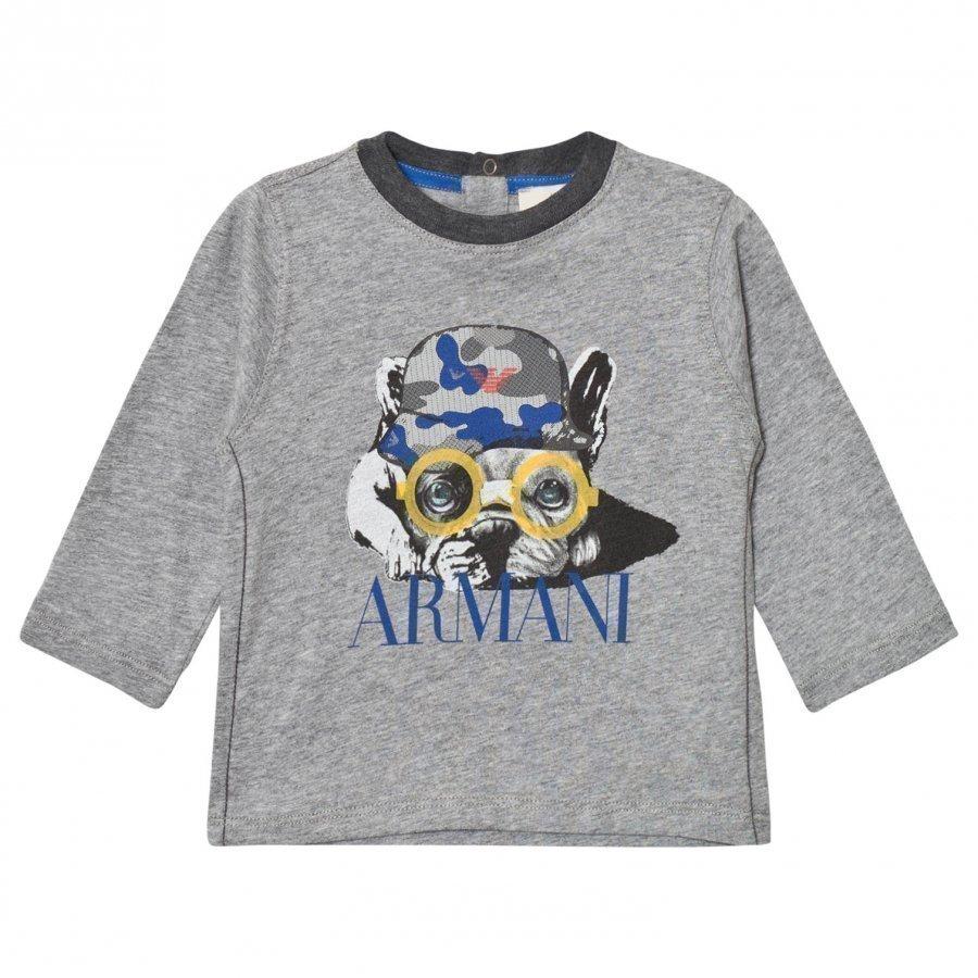 Armani Junior Grey Marl Bulldog Print Tee T-Paita