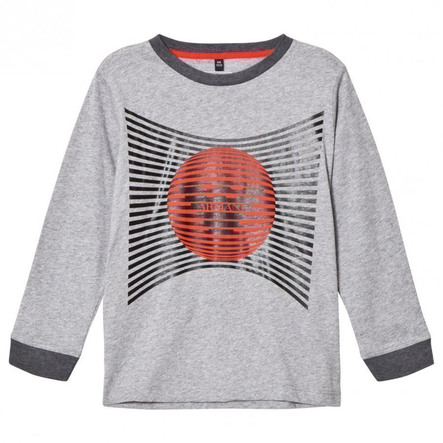 Armani Junior Grey Marl Eagle Graphic Logo Long Sleeve Tee Pitkähihainen T-Paita