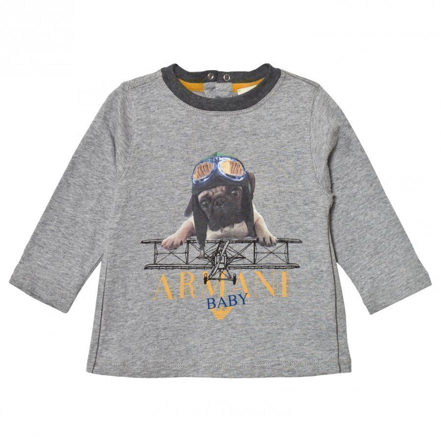 Armani Junior Grey Marl Flying Pug Print Tee T-Paita