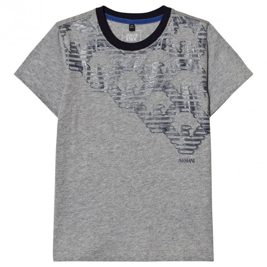 Armani Junior Grey Multi Eagle Logo Tee T-Paita