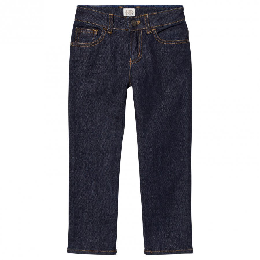 Armani Junior Indigo Raw Denim Regular Fit Jeans Farkut