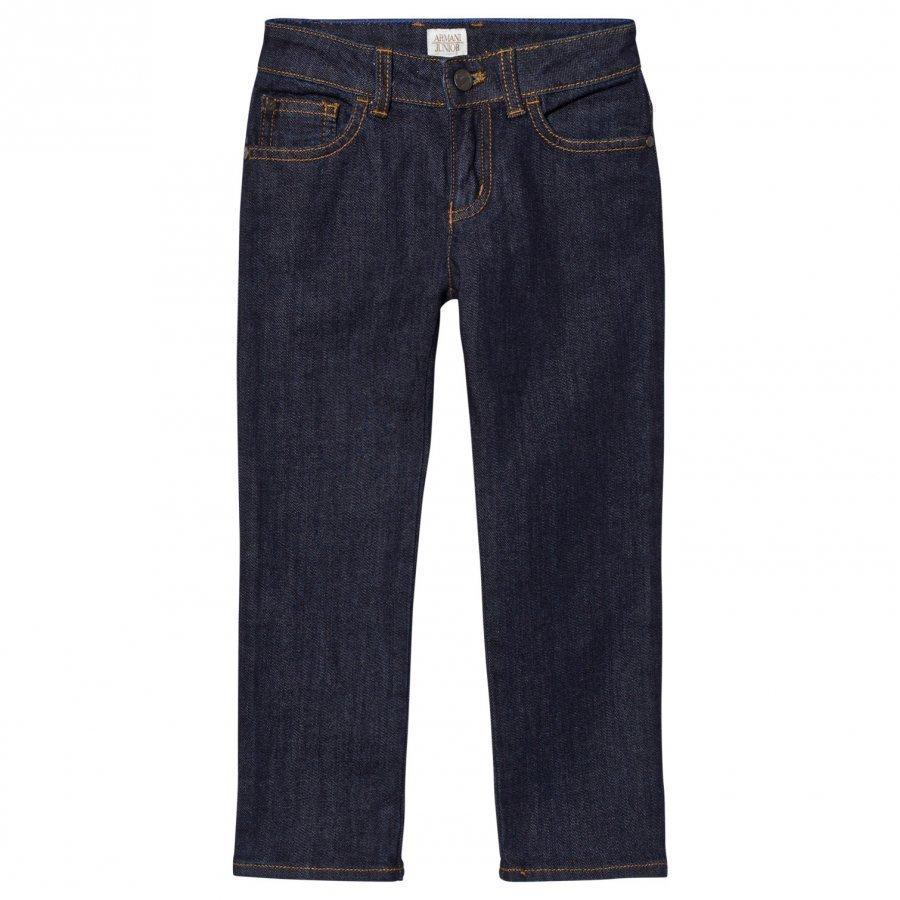 Armani Junior Indigo Raw Denim Regular Fit Jeans Farkut