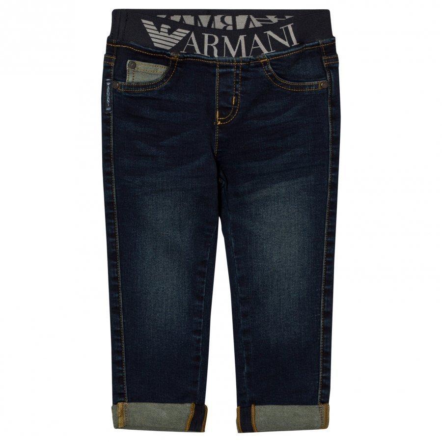 Armani Junior Mid Wash Logo Waistband Jeans Farkut