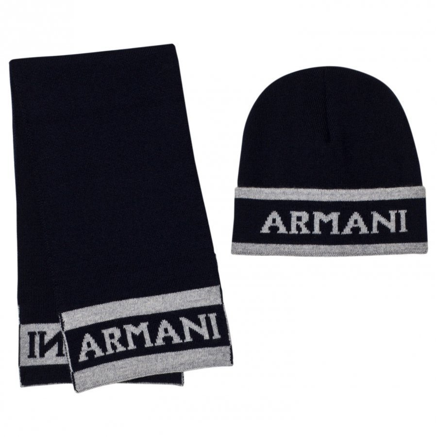 Armani Junior Navy And Grey Branded Hat And Scarf Set Asusetti