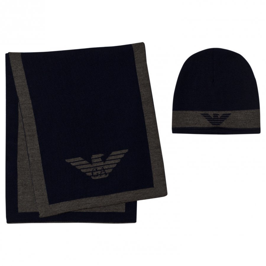 Armani Junior Navy And Grey Branded Hat And Scarf Set Lahjasetti
