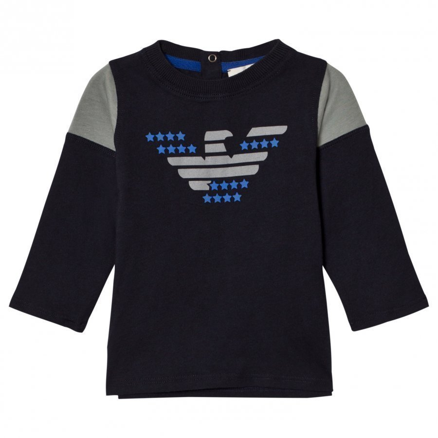 Armani Junior Navy And Grey Eagle Logo Long Sleeve Tee Pitkähihainen T-Paita