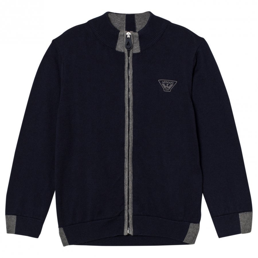 Armani Junior Navy And Grey Logo Knit Zip Cardigan Neuletakki