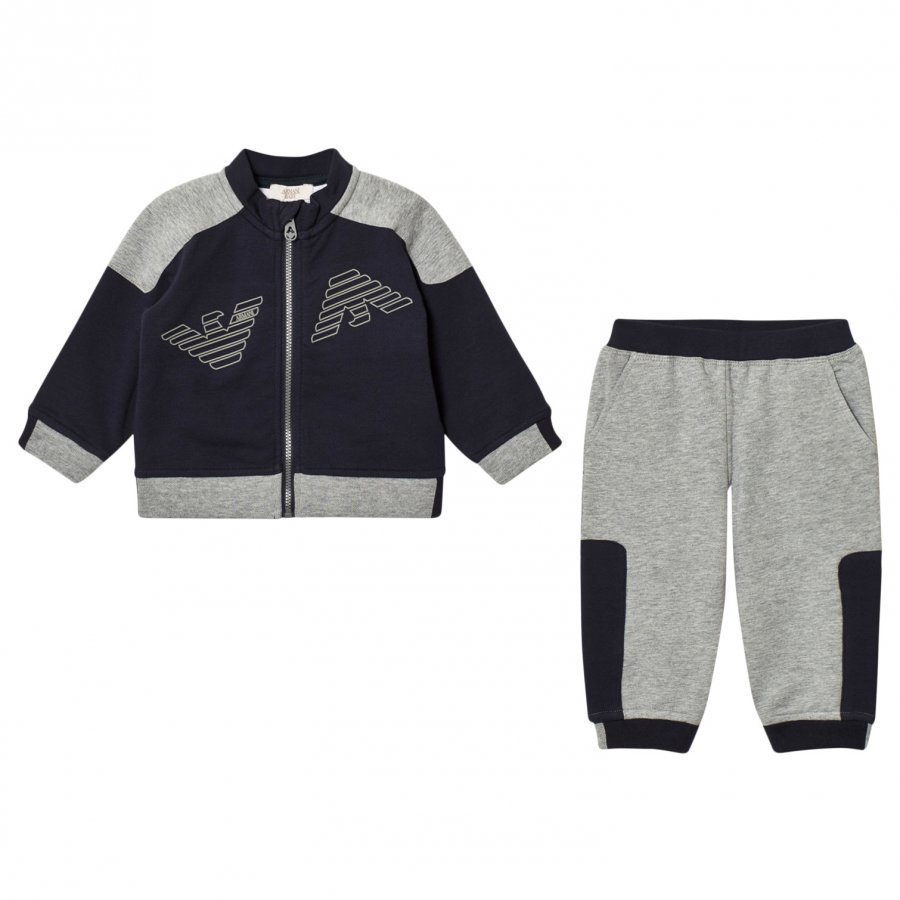Armani Junior Navy And Grey Logo Tracksuit Verryttelyasu