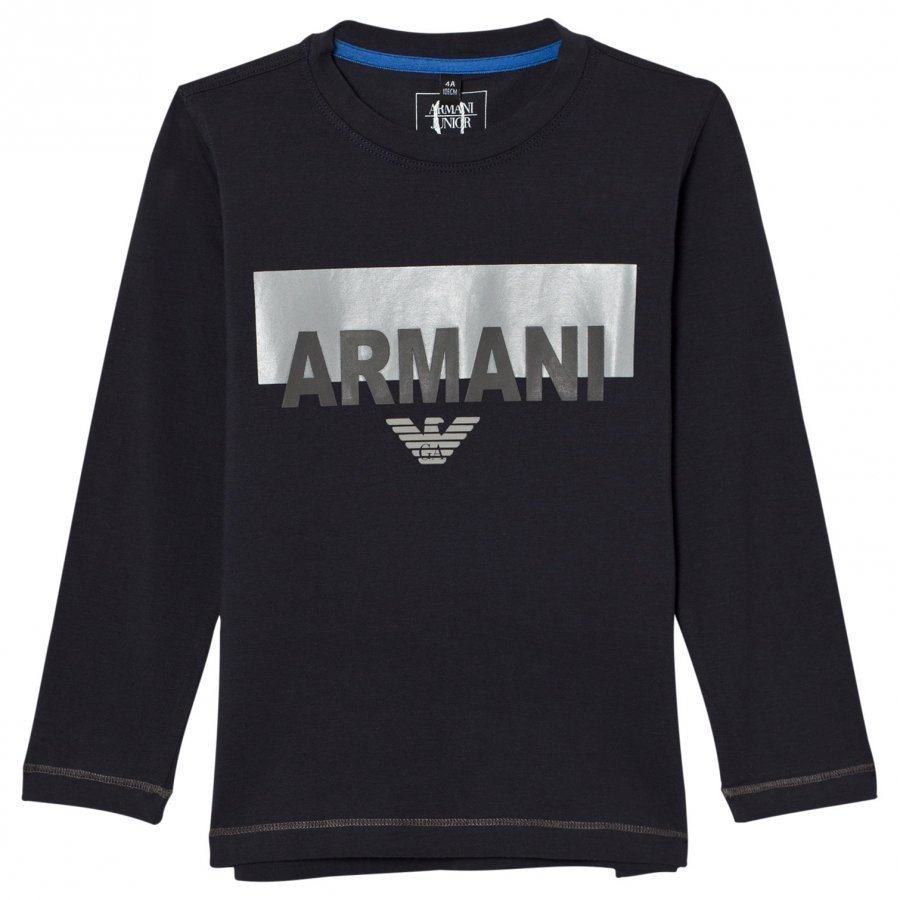 Armani Junior Navy Branded And Logo Long Sleeve Tee Pitkähihainen T-Paita