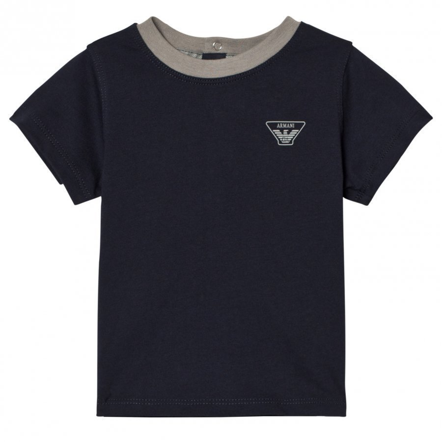 Armani Junior Navy Classic Logo Short Sleeve Tee T-Paita