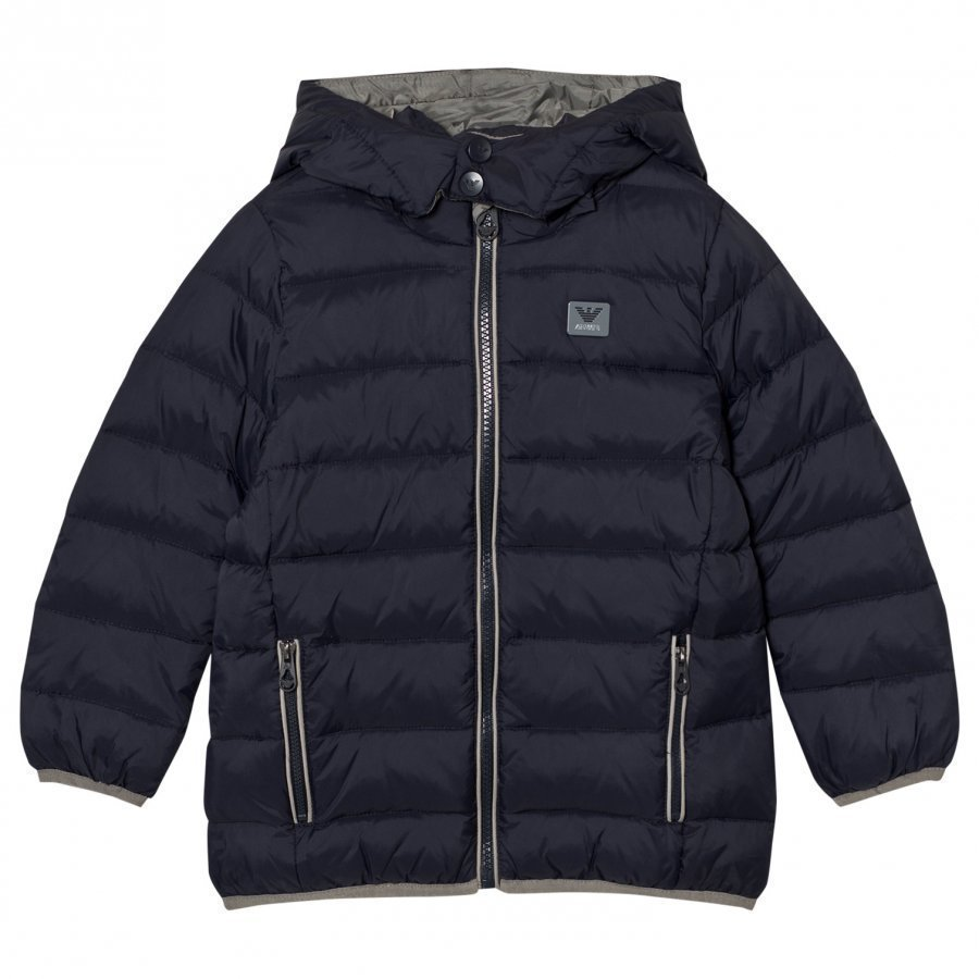 Armani Junior Navy Down Hooded Puffer Coat With Logo Toppatakki