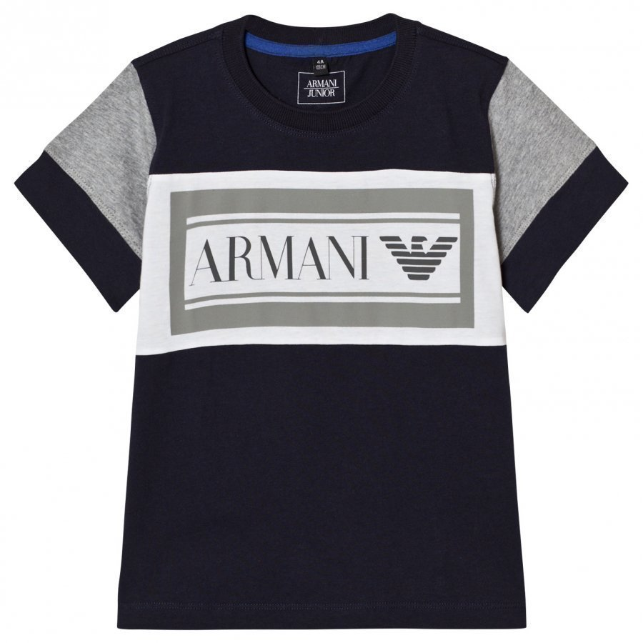 Armani Junior Navy Grey Branded Tee T-Paita