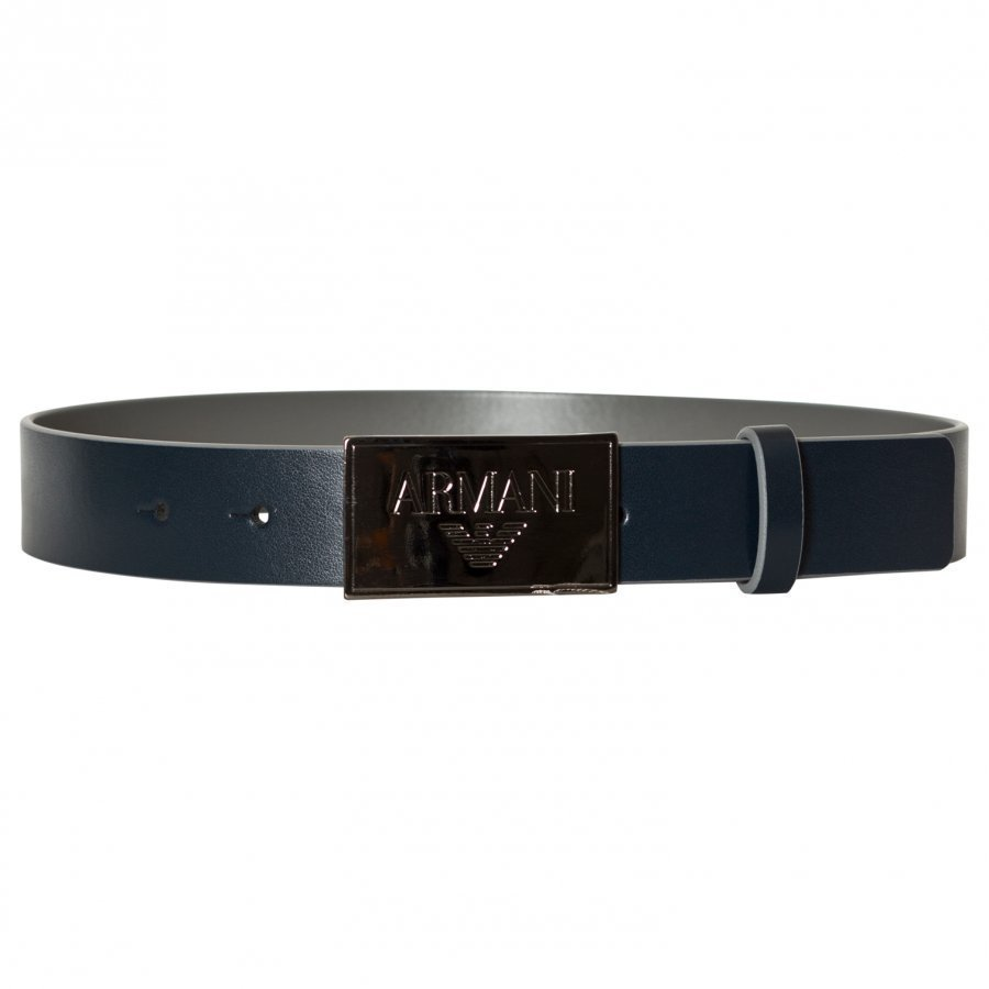 Armani Junior Navy Leather Branded Plaque Belt Nahkavyö