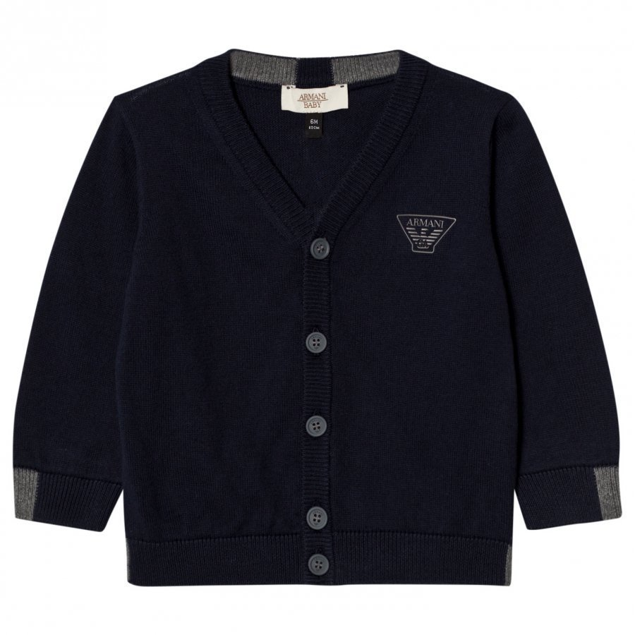 Armani Junior Navy Logo Knit Cardigan Neuletakki