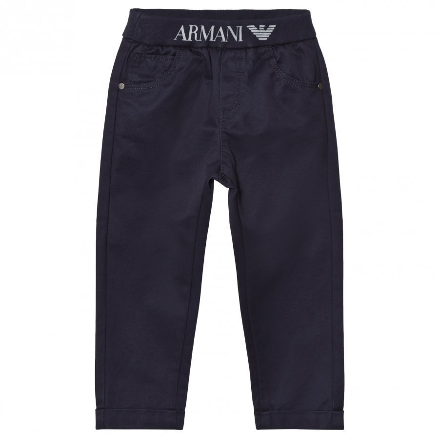 Armani Junior Navy Logo Waistband Pull Up Chinos Housut