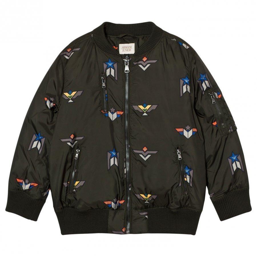 Armani Junior Olive Down Branded Bomber Jacket Bomber Takki
