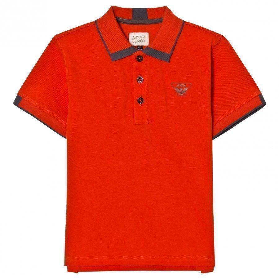 Armani Junior Orange Classic Logo Pique Polo Shirt Pikeepaita