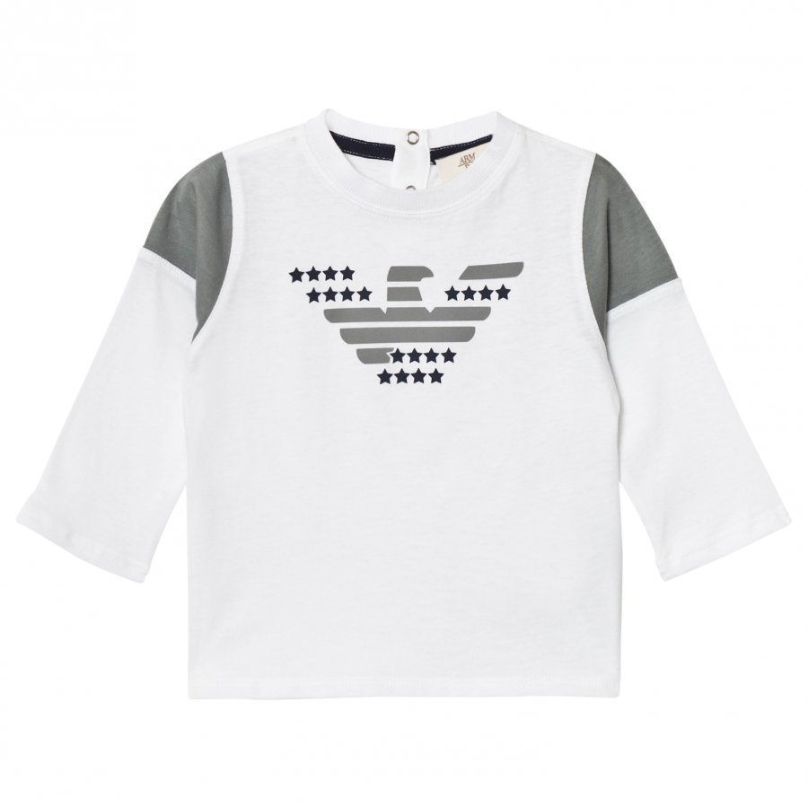 Armani Junior White And Navy Eagle Logo Long Sleeve Tee Pitkähihainen T-Paita