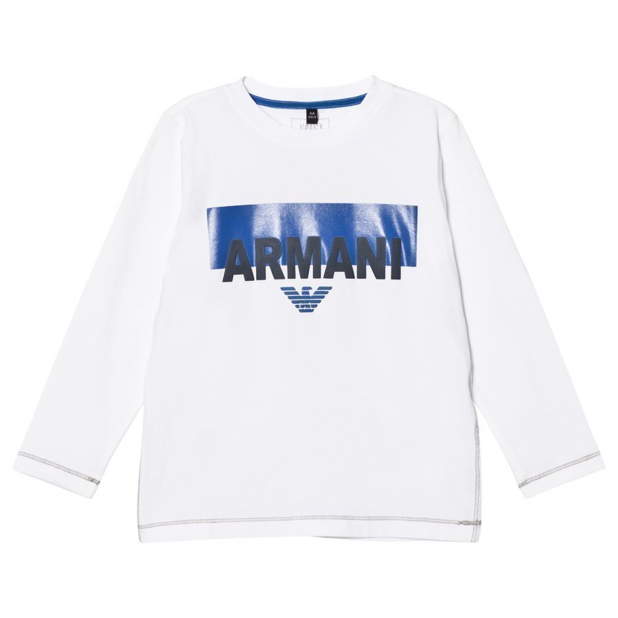Armani Junior White Branded And Logo Long Sleeve Tee Pitkähihainen T-Paita