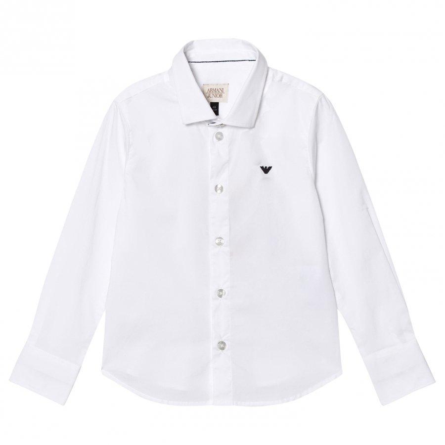 Armani Junior White Classic Poplin Logo Shirt Kauluspaita