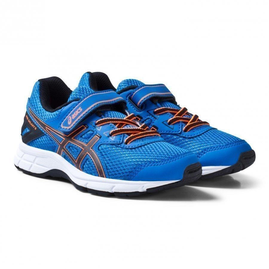 Asics Blue And Orange Kids Velcro Pre-Galaxy 9 Running Trainers Urheilukengät