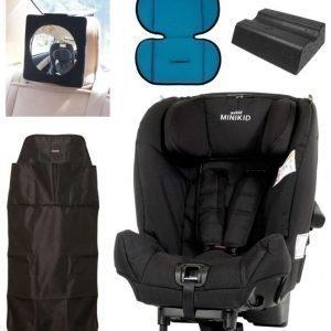 Axkid Turvaistuin Minikid + Turvaistuimen pehmuste och kallistuskiila sis. Carena Peili ja potkusuoja suojaa Musta
