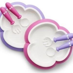 BABYBJÖRN Lasten ruokailusetti 3 osaa Vaaleanpunainen/violetti