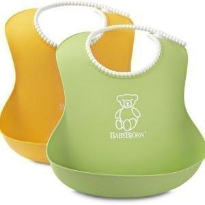 BABYBJÖRN Pehmeä ruokalappu 2-pack Vihreä/keltainen