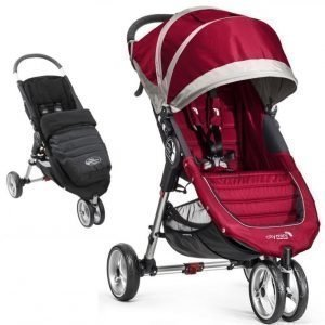 Baby Jogger Klapvogn + Kørepose City Mini Single 2014 Crimson/Grey + Black