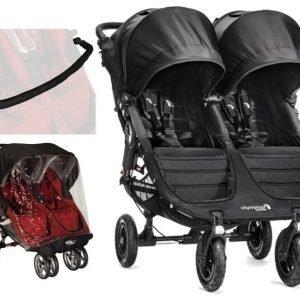 Baby Jogger Rattaat City Mini GT Double Black/Black + Sadesuoja ja Säädettävä turvakaari Paketti