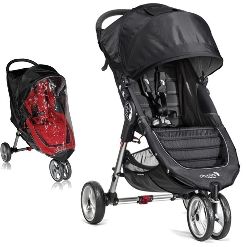 Baby Jogger Rattaat City Mini Single Black/Grey ttc Sadesuoja Paketti