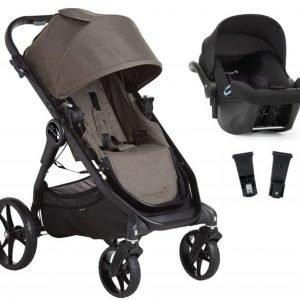 Baby Jogger Travelsystem City Premier Rattaat + City Go Turvakaukalo sis. Turvakaukalon adapteri Taupe/Black