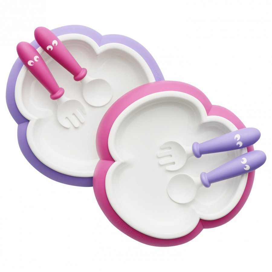 Babybjörn Baby Plate Spoon & Fork 2 Sets Pink/Purple Ruokailusetti