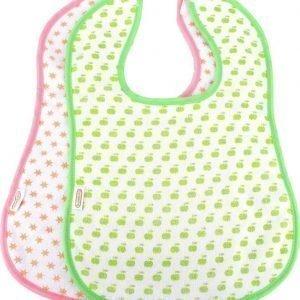 Bambino Pehmeä ruokalappu Vihreä/Vaaleanpunainen