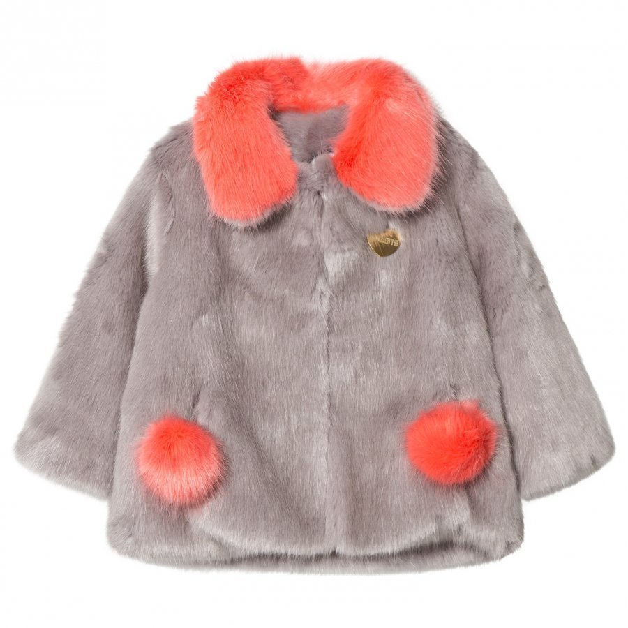 Bandit's Girl Grey/Coral Faux Fur Coat With Pom Pom Pockets Turkis