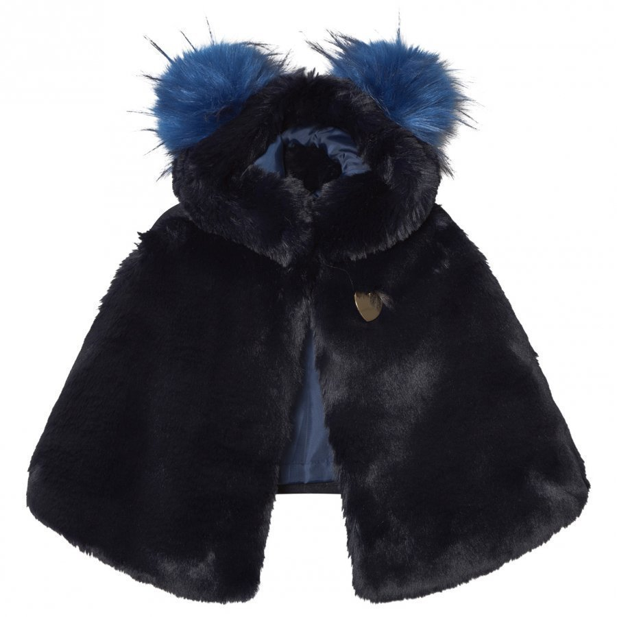 Bandit's Girl Navy Faux Fur Cape With Pom Pom Hood Viitta