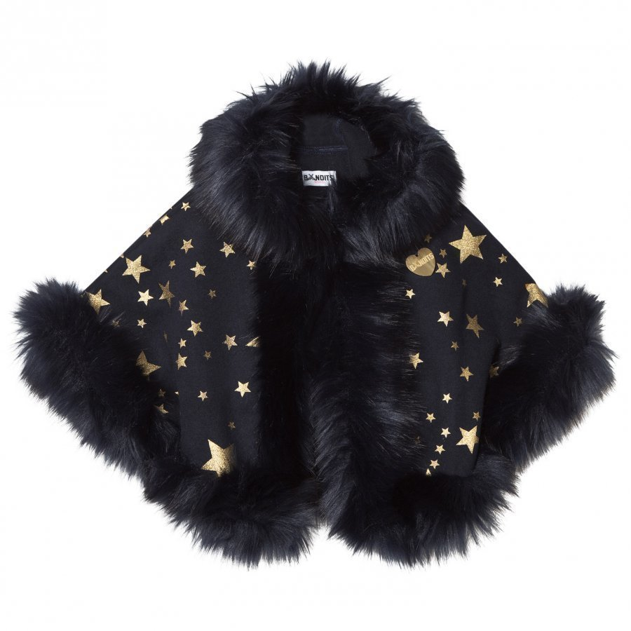 Bandit's Girl Navy Star Print Faux Fur Cape Viitta